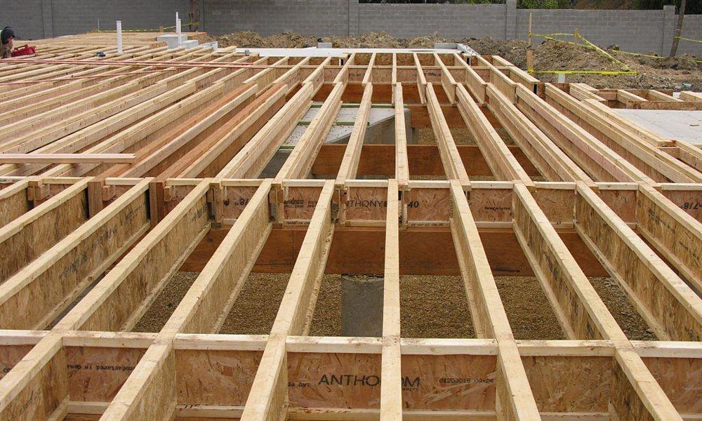 Image gallery i joist for Wood floor joist spacing